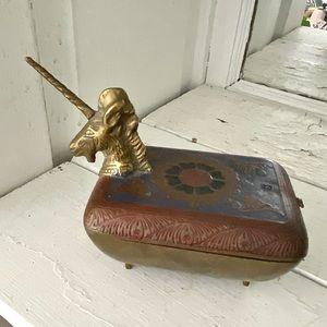 Vintage Brass Unicorn Indian Jewelry Trinket Box